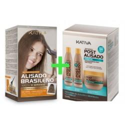 Kativa Keratina & Argan Oil Kit Alisado Brasileño + Kit Post Alisado (3x250ml)