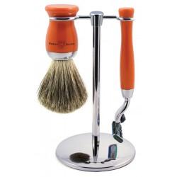 Edwin Jagger Set 3 Piezas Maquinilla Gillette Mach3 & Brocha de Afeitar Naranja Pure Badger y Soporte