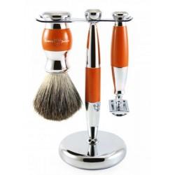 Edwin Jagger Set 3 piezas Maquinilla Mach 3   Brocha de afeitar Cuerno y  Soporte 9c89af1c432f
