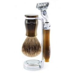 Edwin Jagger Set Afeitado Maquinilla de Afeitar Mach 3®, Brocha & Soporte Cuerno