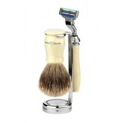 Edwin Jagger Set Afeitado Maquinilla de Afeitar Mach 3®, Brocha & Soporte Marfil