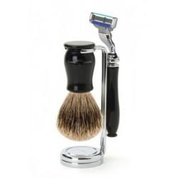 Edwin Jagger Set Afeitado Maquinilla de Afeitar Mach 3®, Brocha & Soporte Negro